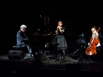 Jean Michel Bernard with Kimiko Ono and Jan Stokłosa during cinematic piano