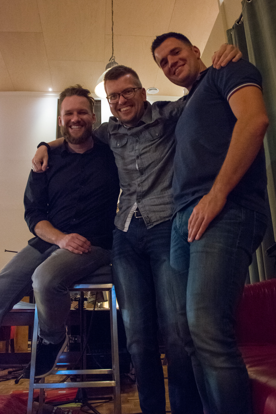fltr: Matthijs, Anton and orchestrator Thomas Bryła during the recordings of Wild